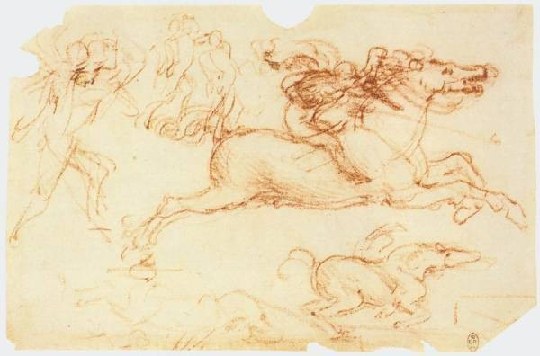 Leonardo da Vinci Galloping Rider and other figures